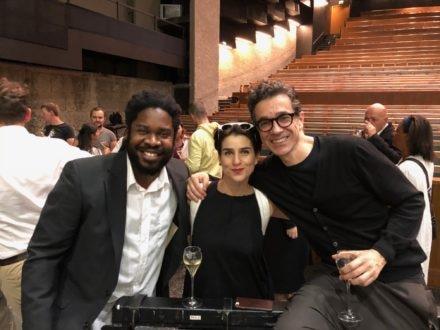 Dashon Burton with Asmik Grigorian (Salomé) and Romeo Castellucci (director)